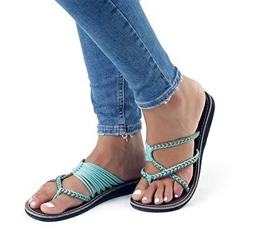 AARDIMI Sandalen Damen Frauen Flip Flops Kreuzband Geflochtene Sandalen Roman Schuhe Sommer Woven Strap Mode Strand Hausschuhe Flacher Anti Rutsch (36 EU, Grün 3)
