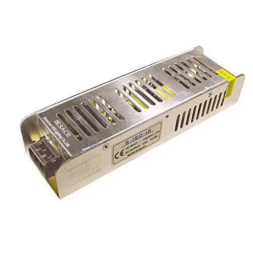 IKSACE 12V LED Netzteil Monitor Treiber Heimgebrauch Adapter Industrie Transformator für LED-Streifen Industrielle Stromversorgung Monitor Adapter Transformator 150W DC12V 12.5A für LED-Streifen