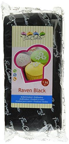FunCakes Fondant Raven Black: Einfach zu Verwenden, Glatt, Elastisch, Weich und Schmeidig, Perfekt zum Dekorieren von Torten, Halal, Koscher und Glutenfrei. 1 kg