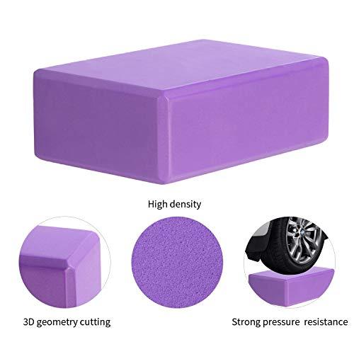CISMARK Yoga Blocks 2-PC, High Density EVA Foam Blocks to Support and Deepen Poses, Improve Strength and Aid Balance and Flexibility - Lightweight 180g Purple