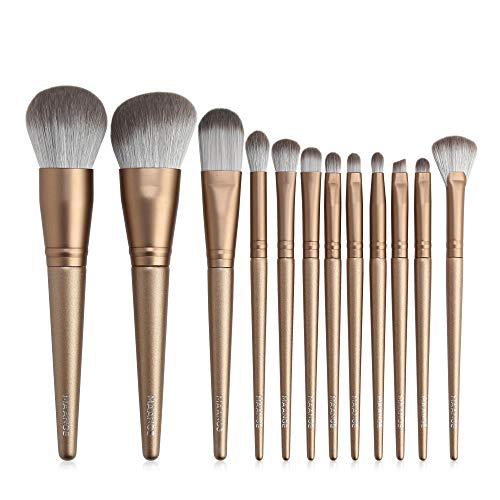 12 piezas de brochas de maquillaje Set Belleza Herramientas 12 Brochas de maquillaje de oro