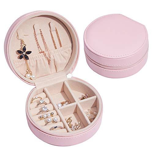 Sweetf - Portagioie piccolo da viaggio, per anelli, orecchini, collane, bracciali, in pelle PU, ideale come regalo per donne e ragazze (rosa)
