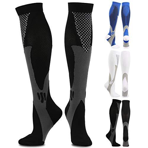 RosewineC 3 pares de calcetines de compresión para hombre y mujer (2XL/3XL(38-44cm/EU43-47))