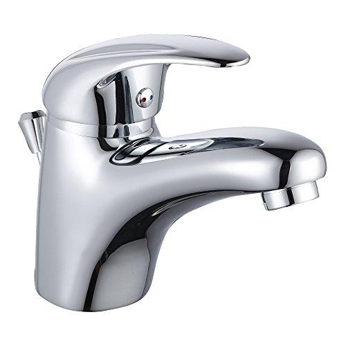 Waschtischarmatur mit Verbrühschutz Wasserhahn Bad inkl. Ablaufgarnitur Waschbecken Armatur Chrom Mischbatterie Badezimmer Einhebelmischer inkl. Anschlussschläuchen und Befestigungsmaterial