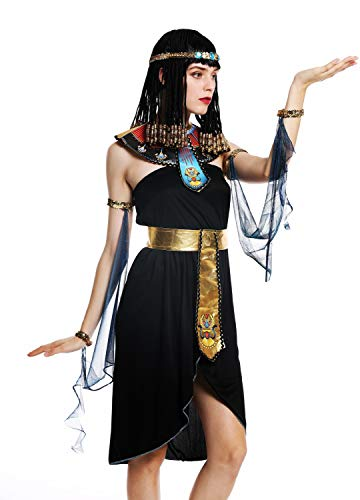 dressmeup - W-0264-S/M Disfraz Mujer Feminino Halloween Cleopatra Egipto Reina faraón Negro Talla S/M