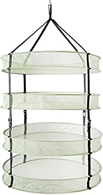 iPower GLDRYRD2L4V1 2ft 4 Layers Collapsible Breathable Mesh Herb Drying Rack for Buds & Hydroponic Plants with Sturdy Support, 4L, Heavy Duty Hang Dryer Net