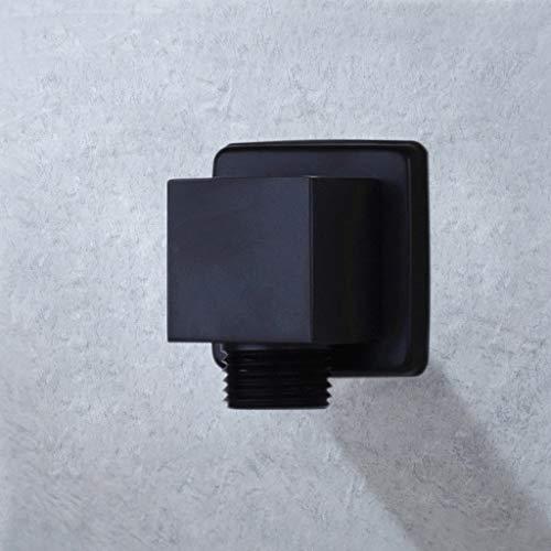 Diaod Conector de la Manguera de Ducha de Cromo Negro Accesorios Cuadrados para el baño Conector de la Pared del Cuerpo del baño para la Manguera de la Ducha (Color : Black)