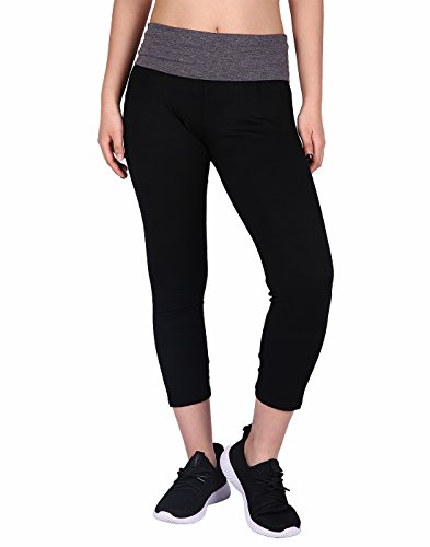 HDE Women's Yoga Capri Pants Color Block Fold Over Waist Workout Leggings (Black w/Charcoal, X-Large)