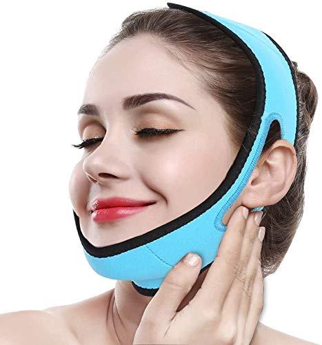 Minceur Masque du Visage Strip Bandages raffermissant Minceur Visage Menton Réducteur et de la Peau Anti-Rides Soins du Visage V Ligne compacte (Color : Blue)