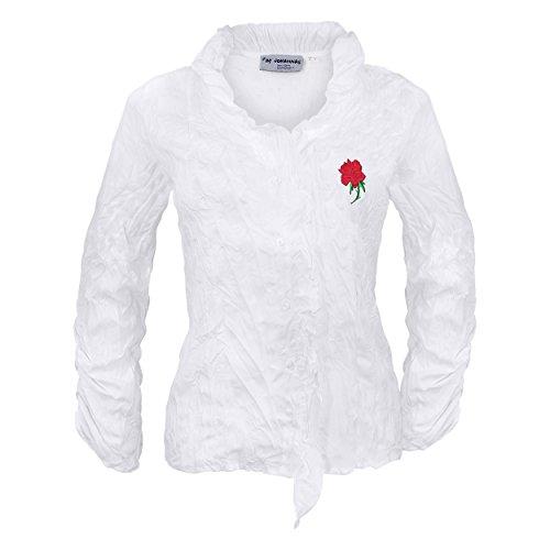 By Johanna Trachtenbluse Damen Bluse Weiß für Trachten Jeans Lederhose Rock. Bestickt mit Rose. Crash Plissee 38