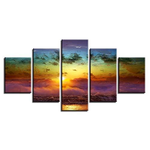 Gdlkss Canvas Picture - 5 Piece - 5 Part Panels - Sunrise beautiful waves Canvas Prints Image Framed Artwork Painting Picture Photo Home Decoration - 200x100cm