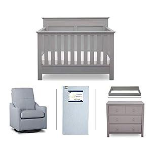 Serta Fall River 5-Piece Nursery Furniture Set (Serta Convertible Crib, 4-Drawer Dresser, Changing Top, Serta Crib Mattress, Glider), Grey/Light Blue