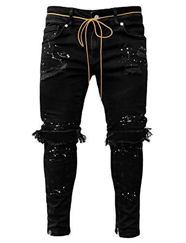 Pizoff Herren Superenge Skinny-Jeans mit Rissen an den Knien, 01130124xschwarz, XL