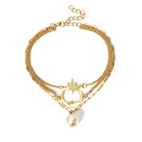Turtle Chain Anklet Multilayer Star Moon Pearl Beads Sea Anklet Bohemian Pineapple Anklet Bracelet Handmade Boho Leg Chain Lock Anklet Summer Beach Foot Jewelry for Women Girls-moon gold