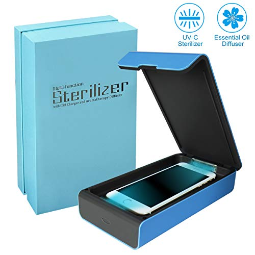 UV Cell Phone Sanitizer, Portable Smart Phone Sterilizer, Aromatherapy Function Disinfector, iPhone Cleaner with USB Charging for iOS Android Mobile Phone Toothbrush Pacifier-Blue