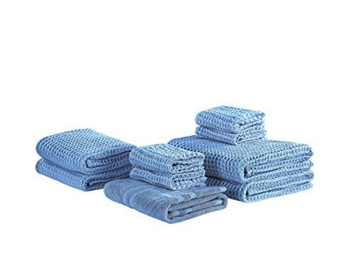 Beliani Conjunto de 9 Toallas de algodón Azules AREORA