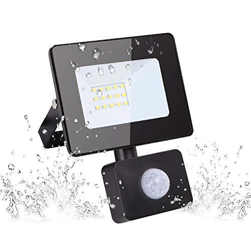 Aigostar 10W LED Strahler Außen mit Bewegungsmelder, 900LM 4000K Naturweiß LED Fluter,IP65 Wasserdicht Außenstrahler, Scheinwerfer Wandleuchte für Garten, Innenhöfe, Garage, Hotel