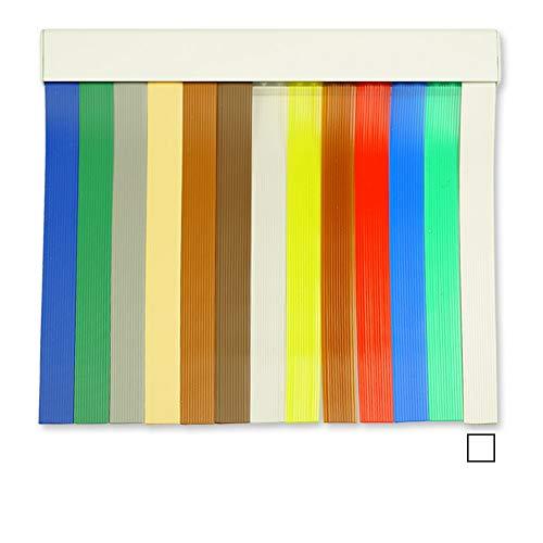 Cortinas Exterior Puerta de Tiras | Material Plastico PVC y Barra Aluminio | Ideal para Terraza y Porche | Antimoscas | Blanco | 210 * 90