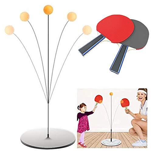 luckything Tischtennis Trainer Mit Weichem Schaft Tragbares Tischtennis-Set Mit 2 Schlägern Und 3 Übungsbällen Für Selbsttraining/Freizeit/Dekompression/Kind Indoor Outdoor Spielen