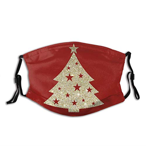 Golden Christmas Tree Face Mask Dustproof Breathable Protective Scarf Reusable Adjustable Washable Fashion Bandana Made In USA