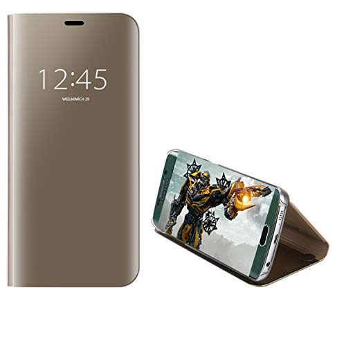 COOVY® Cover für Samsung Galaxy S6 Edge SM-G925F SM-G925 Bookstyle, metallic Optik, Clear View, luxuriöses, durchsichtiges Spiegel Fenster Case, Standfunktion | Farbe Gold