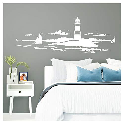 Grandora Skyline Küstenlandschaft Leuchtturm I weiß 90 x 30 cm I Bad Wohnzimmer Schlafzimmer Aufkleber Wandaufkleber Wandsticker Modern W974