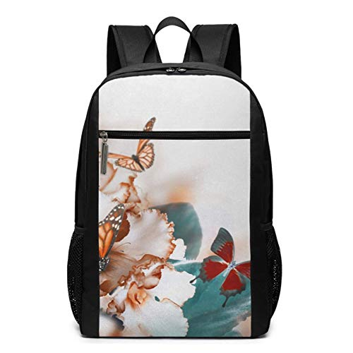 School Backpack Butterfly Flying Over Violet Petals, College Book Bag Business Travel Daypack Casual Rucksack for Men Women Teenagers Girl Boy