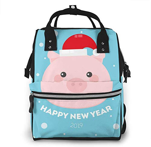 UUwant Sac à Dos à Couches pour Maman Diaper Bag,Versatile Stylish and Durable, Suitable for Mom and Dad,Cute Cartoon Funny Baby Character in New Year Cap.