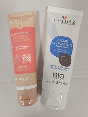 Lot Argiletz, crème pour les mains 50ml et la crème pour les pieds 75 ml - Confort et douceur de la peau - Bio - Argile naturelle -
