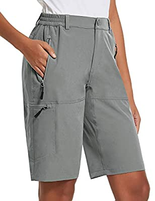 BALEAF Women's Quick Dry Stretch Hiking Cargo Shorts with Zippered Pockets UPF 50+ for Camping, Travel Light Grey Size M