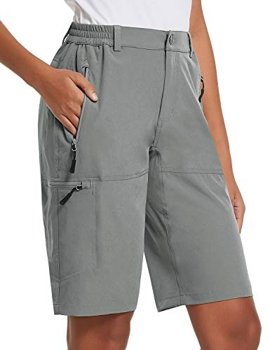 BALEAF Women's 10 Inches Quick Dry Stretch Hiking Cargo Shorts with Zippered Pockets UPF 50+ for Camping, Travel Light Grey Size L