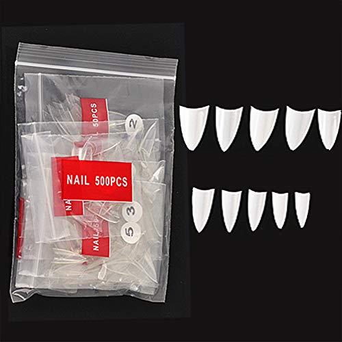 NiceMeet 500 Stücke Kurz Stiletto Nagelspitzen Falsche Nägel - Künstliche Fingernägel Scharfe Kunstnägel Ballerina Tips Nägel für DIY-Nagelkunst und Nagelstudio - Weiß