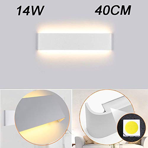 Aplique Pared Interior LED IP44 Impermeable Kambo Lámpara de Pared Interior Moderna 14W 40CM Blanco Cálido 2800K 1000LM AC85-265V Aluminio Decoración para Salon Pasillo Escalera Dormitorio Baño