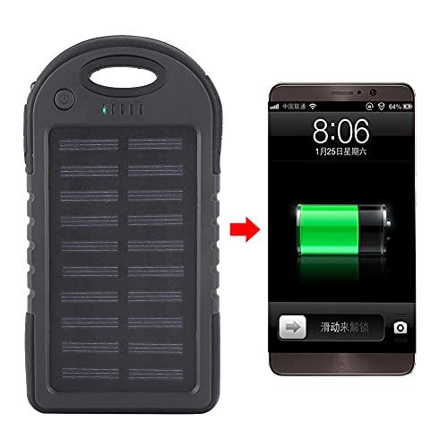 Banco de energía Solar, Cargador de teléfono Solar portátil a Prueba de Agua de 10000 mAh, con luz LED, aleación de Aluminio, Puerto USB Doble, Carga rápida, para teléfonos celulares