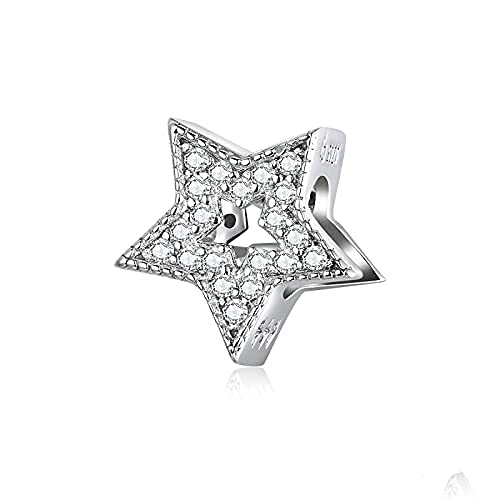Colgante de plata de ley 925 con circonita cúbica para mujer, diseño de estrella celestial, apto para pulsera Pandora