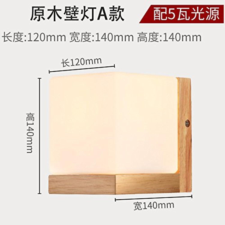 Firsthgus E27 Wandlampe Tür Licht Wandleuchte aus massivem Holz Holz Innenganglicht mit 5W Lichtquelle