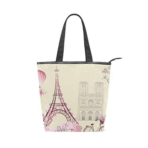 Bolsos de mujer Bolso de hombro de lona romántico Paris Tote