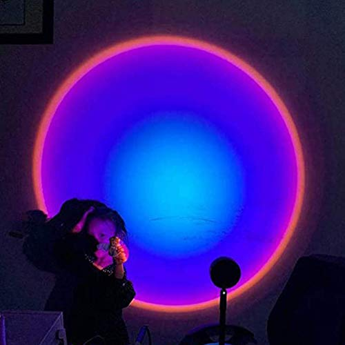 KMILE Luz LED romántica visual, luz nocturna moderna, puesta del sol/sol/arco iris, lámpara de piso, proyector romántico, lámpara de regalo, para pared de fondo de dormitorio (color : arco iris)
