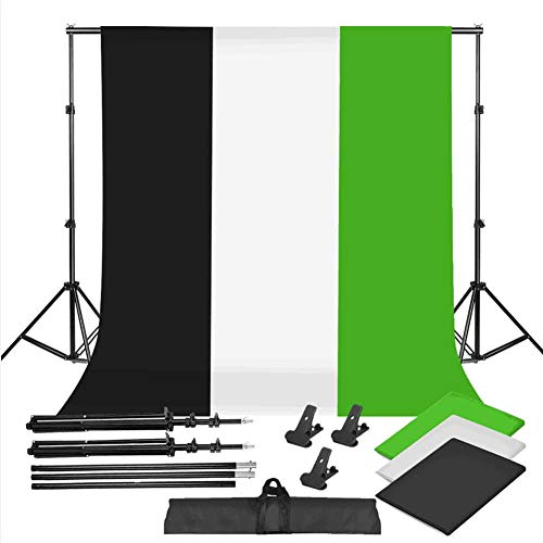 Photo Studio Black White Green Telón De Fondo Chroma Key Screen Background Kit De Soporte