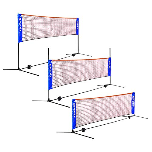 AKOZLIN Portable Adjust Height 2.8-5ft Badminton Net Set,13.45ft Wide Available for Indoor or Outdoor,for Badminton Tennis, Soccer Tennis, Pickleball, Kids Volleyball