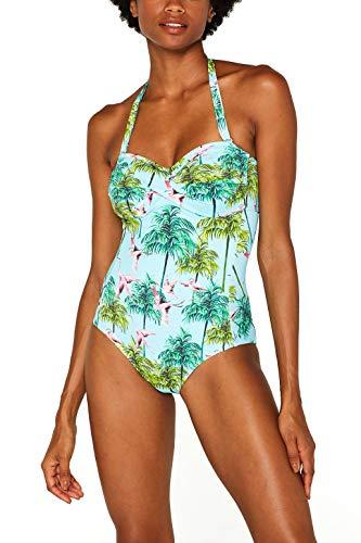 ESPRIT Wattierter Badeanzug mit Flamingo-Print
