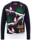 To The Pub Crew Neck Christmas Jumper In Eclipse Blue - Merry Christmas-M