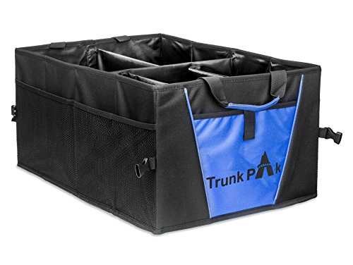 Trunk Organizer - Collapsible Car Organizer For All Types Of Vehicles - Vehicle Storage & Car Trunk Box For & Auto Home Use - Heavy Duty Fabric With Steady Cardboard - 5 Compartments - Blue & Black