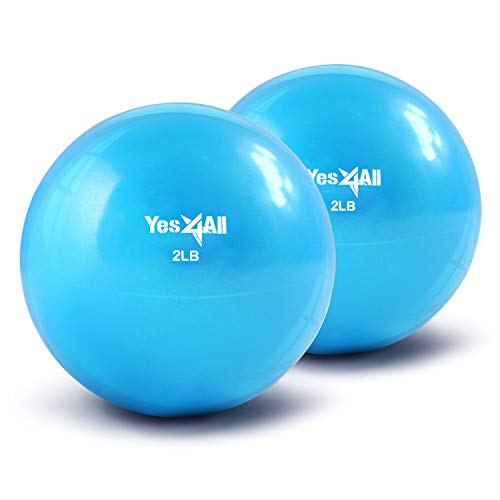 Yes4All Soft Weighted Toning Ball/Medicine Sand Ball – Great for Exercise, Workout – Soft Weighted Ball (2 lbs, Blue) – Total Weight: 4 lbs (Pair)