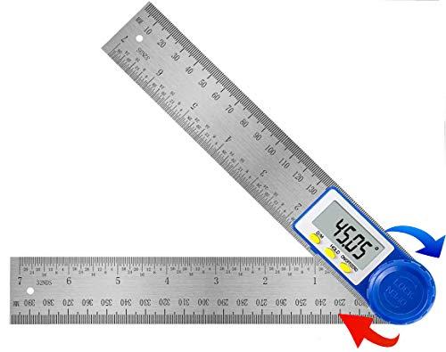 Medidor de Ángulos Digital, Transportador de Angulos Acero Inoxidable Herramientas Carpintería Madera 400mm 360°, Regla Metalica con Función de Bloqueo para Trabajos en casa, Artesanos y Bricolaje
