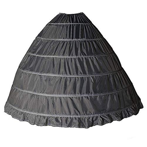 Kinandpri Crinoline Petticoat Onderrok Ball Gown Rok 6 Hoop Rok Trompet Slip voor Bruidsjurk (zwart)