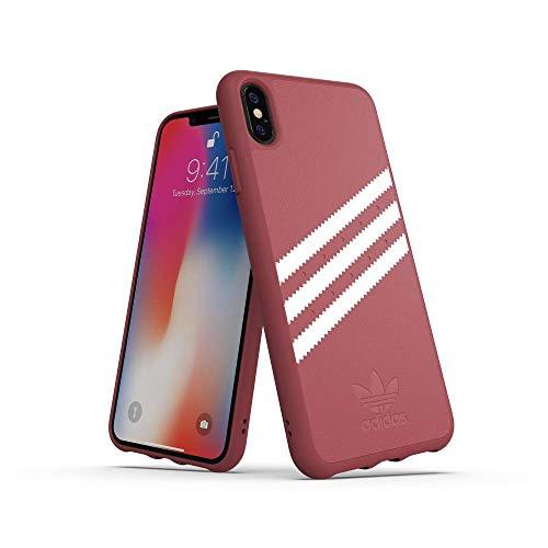 adidas Moulded Suede - Carcasa para Apple iPhone XS MAX, Color Rosa Malva y Blanco