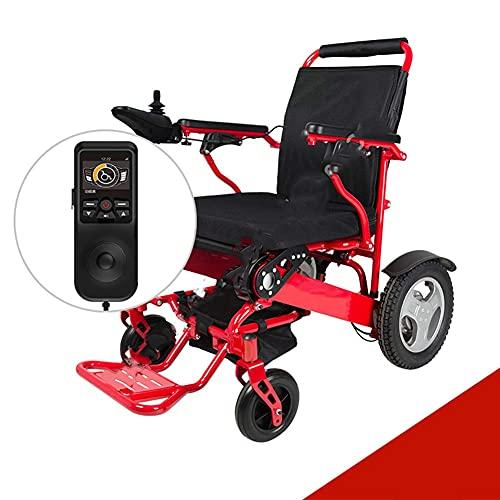 YIQIFEI Silla de Ruedas Ligero Plegable Aluminio Eléctrico Ayuda a la Movilidad eléctrica Scooter Teléfono Inteligente Control Remoto Bluetooth (Silla)