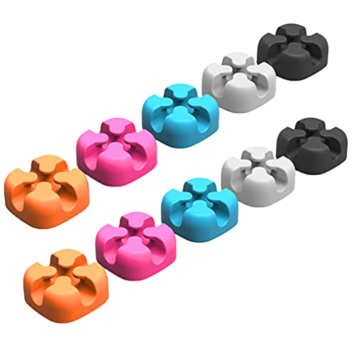 UKCOCO Organizador de Clips de Cable- Soporte de Cable de Escritorio de Silicona Gestión de Cables de Carga en Forma de Cruz para Mesa/Coche/Pared/Ordenador/Teléfono/Cable USB (10