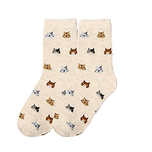 BOLAWOO-77 Calcetines De Mimbre De De Mujeres Las Estampado Animales Mode De Marca Con Dibujos Básicos Básicos Calcetines Cortos Moda Cómoda Transpirable Ocio Calcetines Ocasionales Suaves